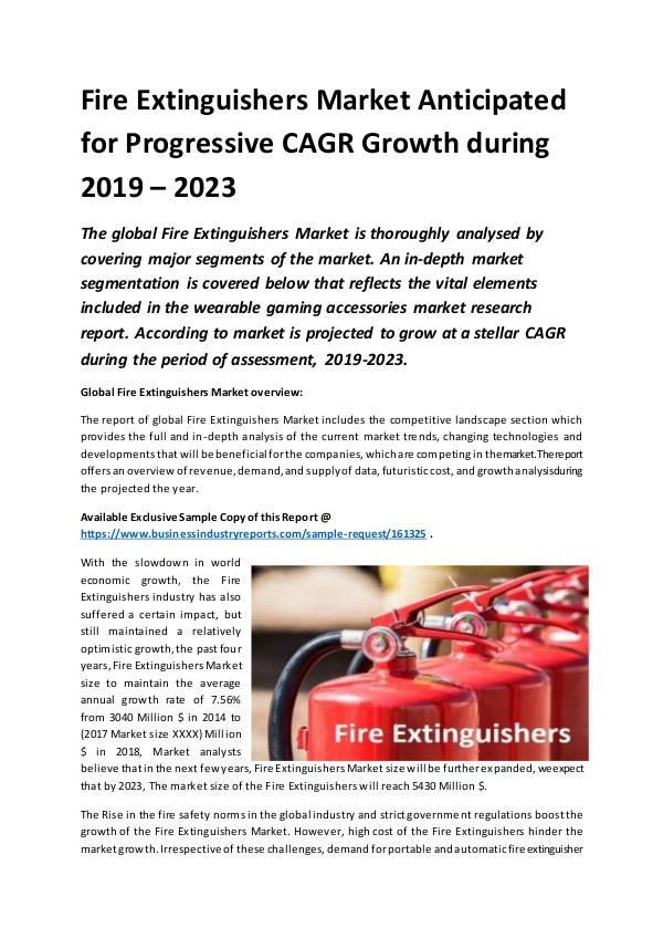 Global Fire Extinguishers Market Report 2019