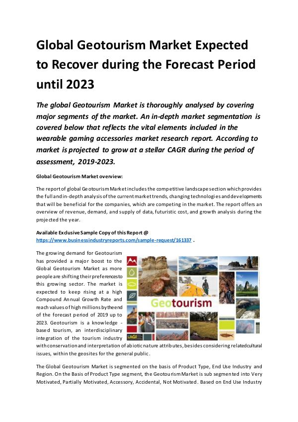 Global Geotourism Market Report 2019