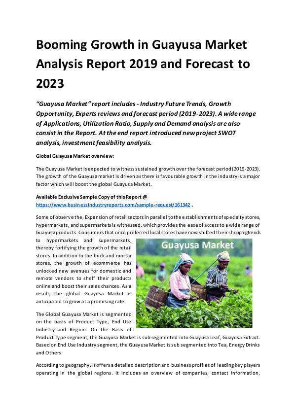 Global Guayusa Market Report 2019