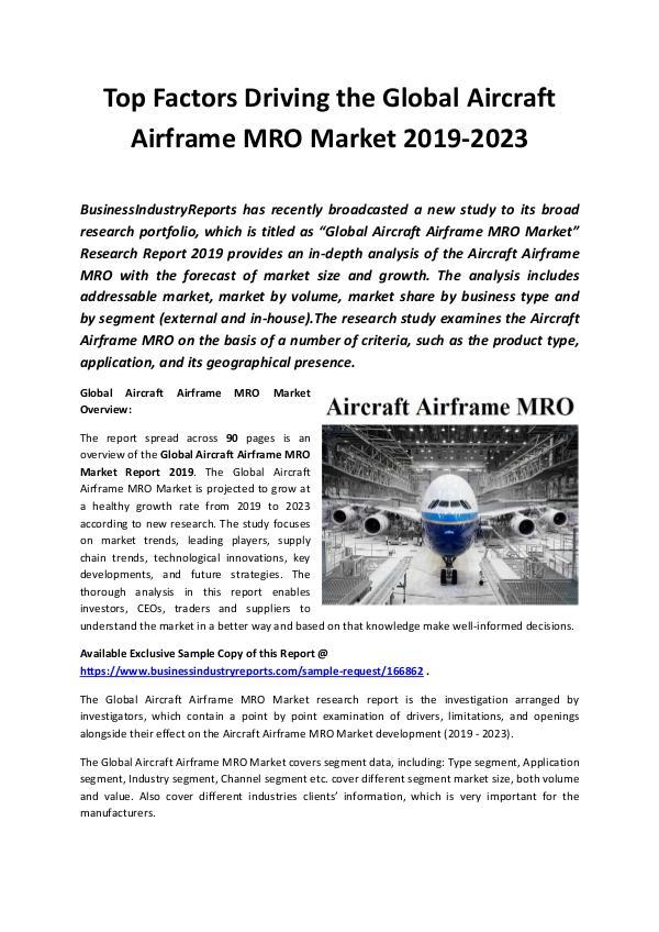 Global Aircraft Airframe MRO Market Report 2019