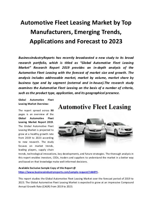 Global Automotive Fleet Leasing Market Report 2019