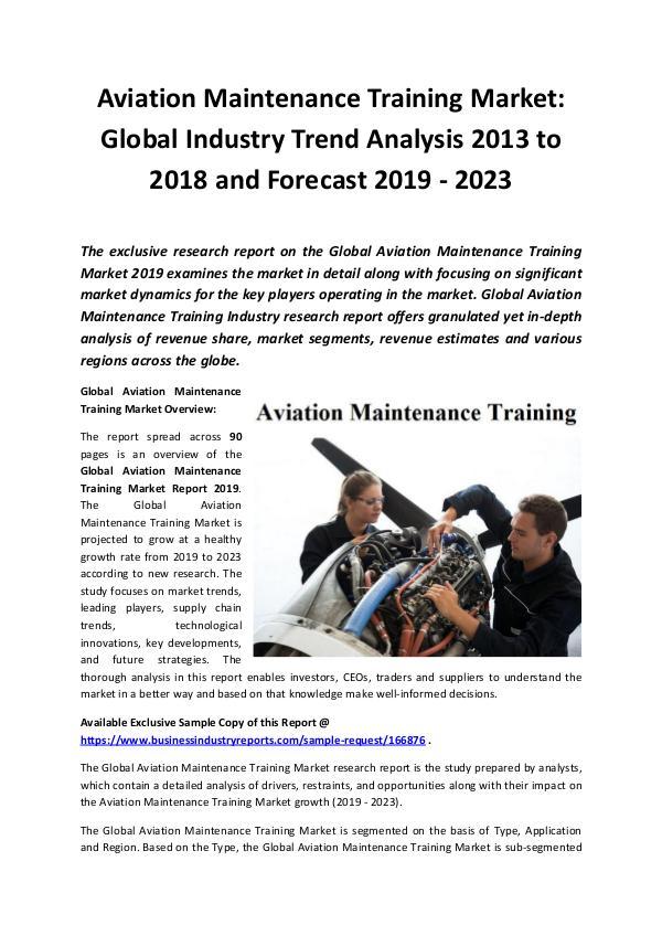 Global Aviation Maintenance Training Market Report