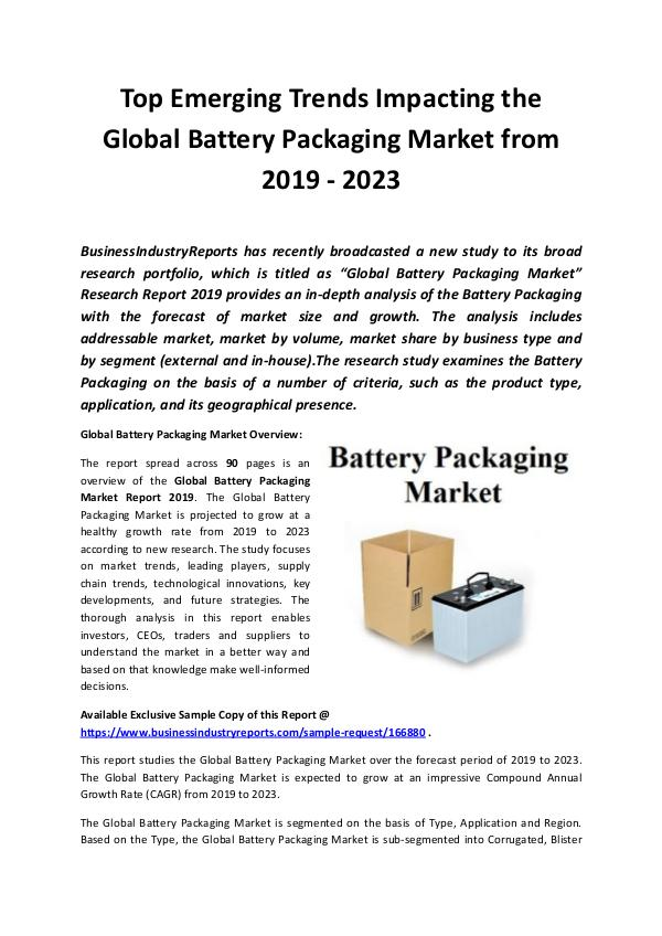 Global Battery Packaging Market Report 2019