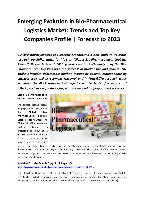 Global Bio-Pharmaceutical Logistics Market Report