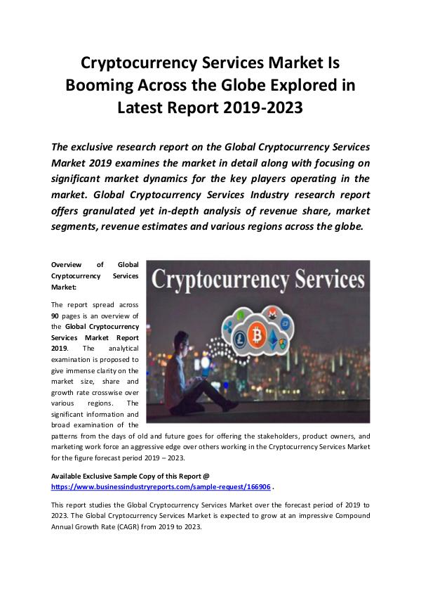 Global Cryptocurrency Services Market Report 2019