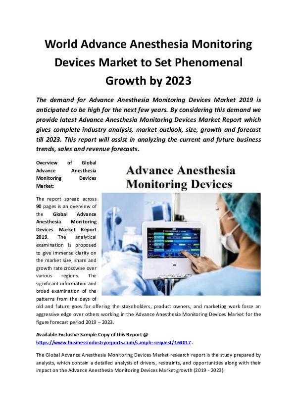 Global Advance Anesthesia Monitoring Devices Marke