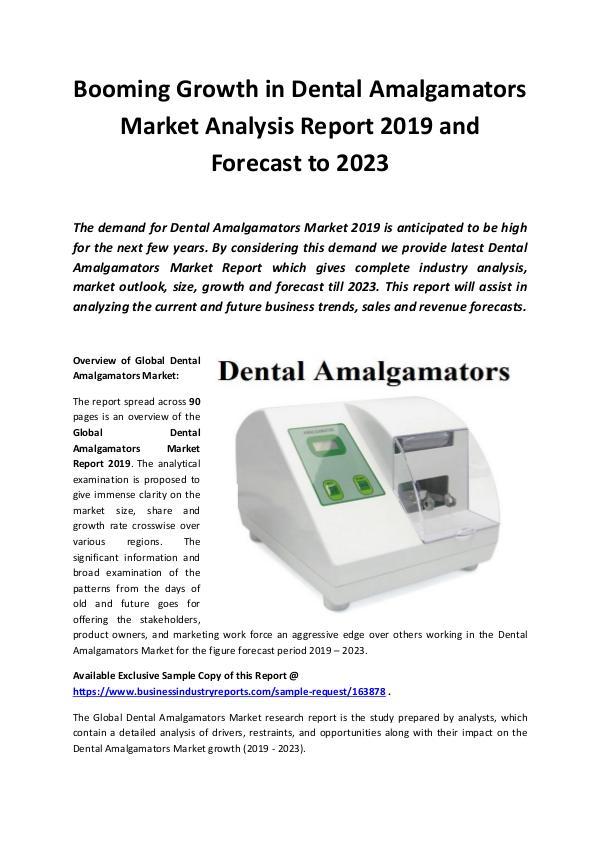 Global Dental Amalgamators Market Report 2019