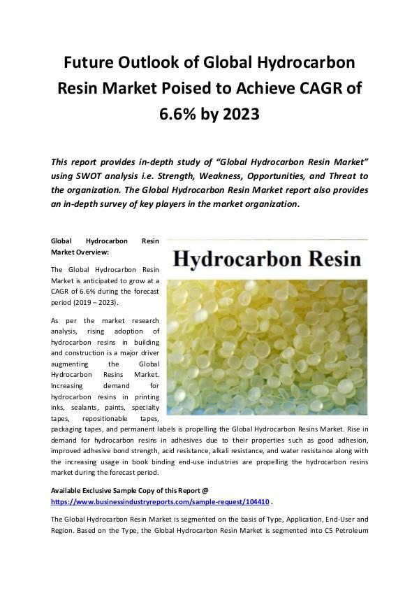 Global Hydrocarbon Resin Market Outlook 2019-2023