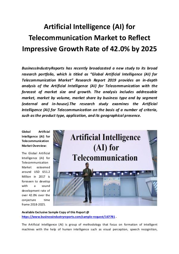 Market Research Reports Global Artificial Intelligence (AI) for Telecommun
