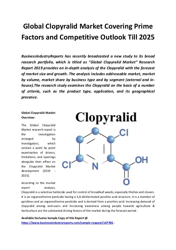 Market Research Reports Global Clopyralid Market 2019