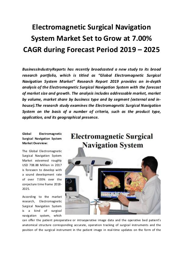 Market Research Reports Global Electromagnetic Surgical Navigation System