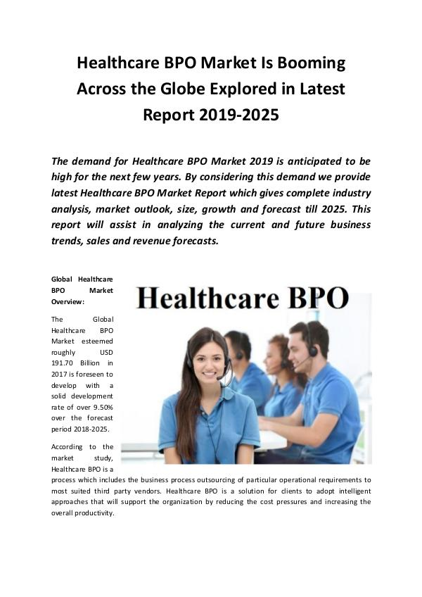 Market Research Reports Global Healthcare BPO Market 2019