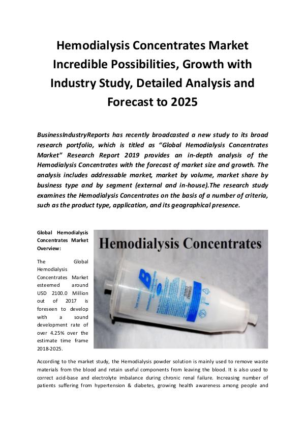 Market Research Reports Global Hemodialysis Concentrates Market 2019