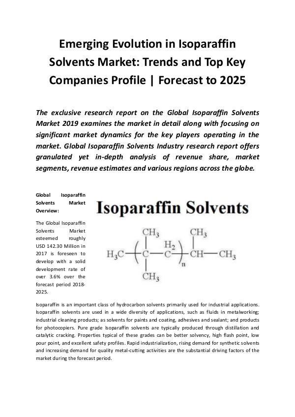 Market Research Reports Global Isoparaffin Solvents Market 2019