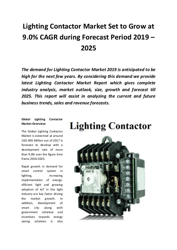 Market Research Reports Global Lighting Contactor Market 2019