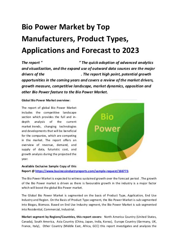 Global Bio Power Market Report 2019