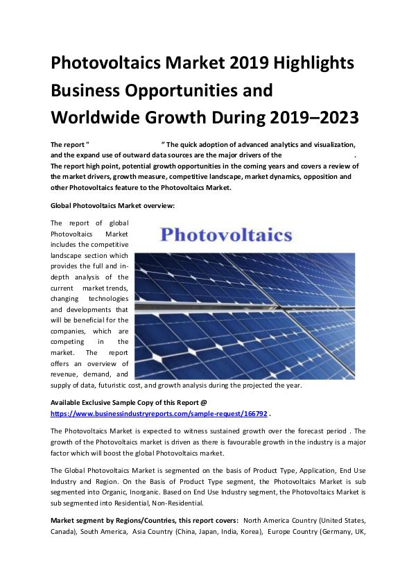 Market Research Reports Global Photovoltaics Market Report 2019