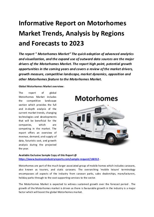 Market Research Reports Global Motorhomes Market Report 2019
