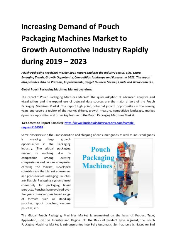 Global Pouch Packaging Machines Market Report 2019