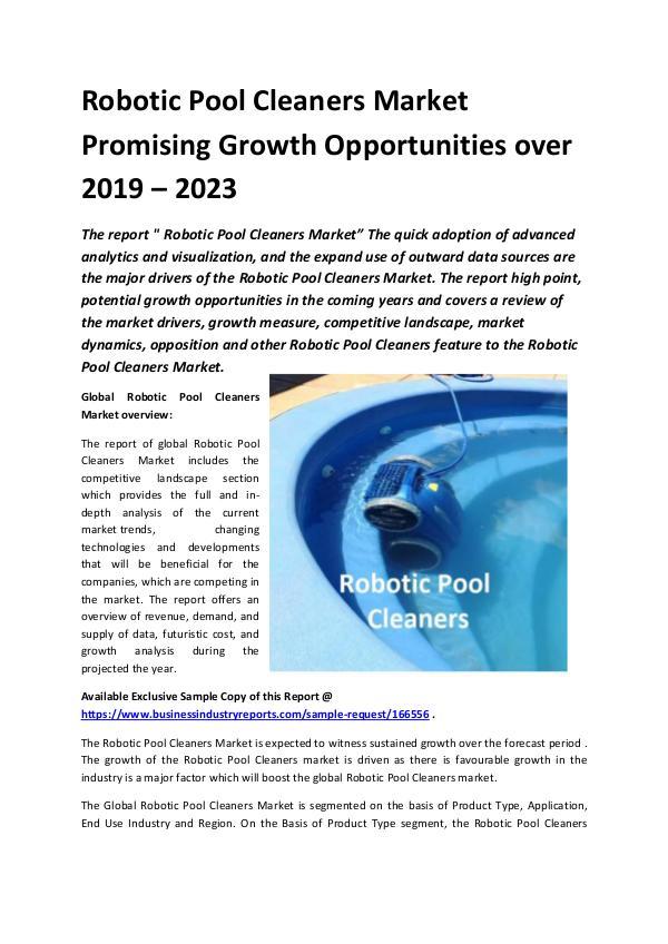Global Robotic Pool Cleaners Market Report 2019