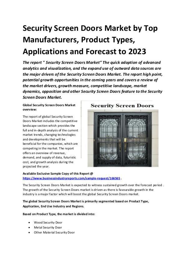 Global Security Screen Doors Market Report 2019
