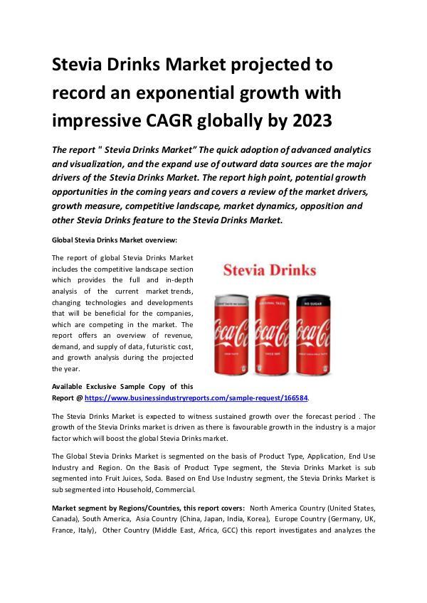 Global Stevia Drinks Market Report 2019