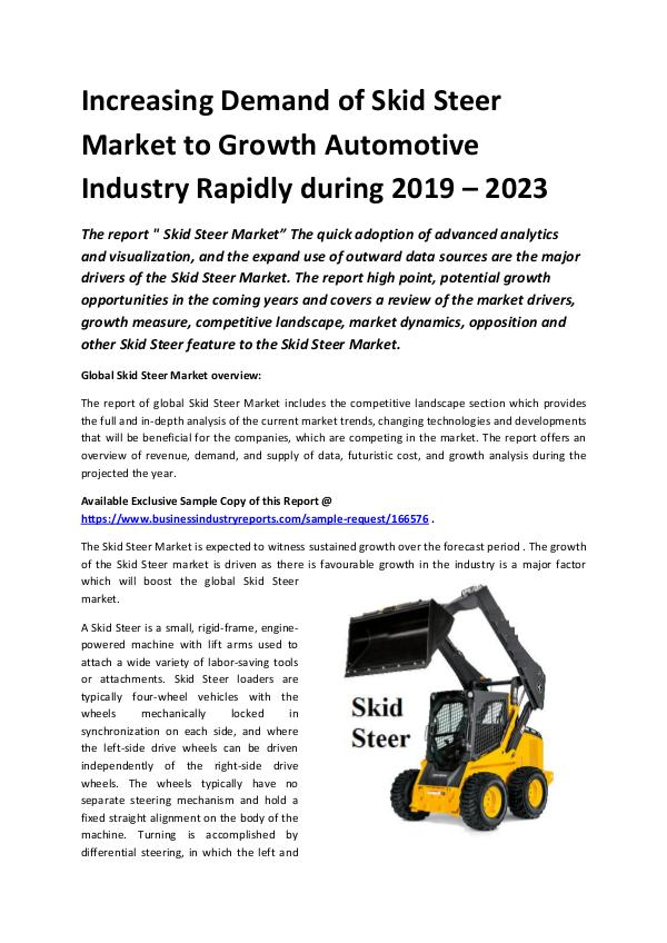 Market Research Reports Global Skid Steer Market Report 2019