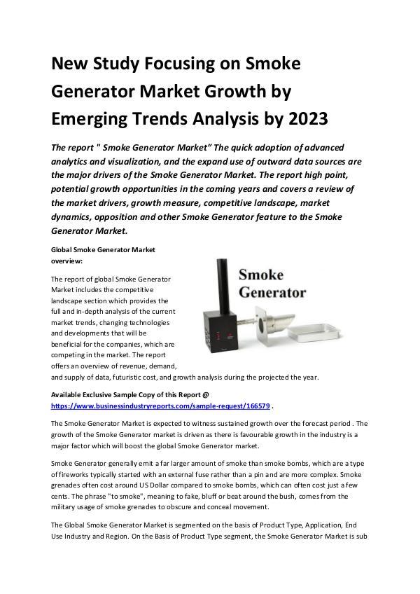 Global Smoke Generator Market Report 2019