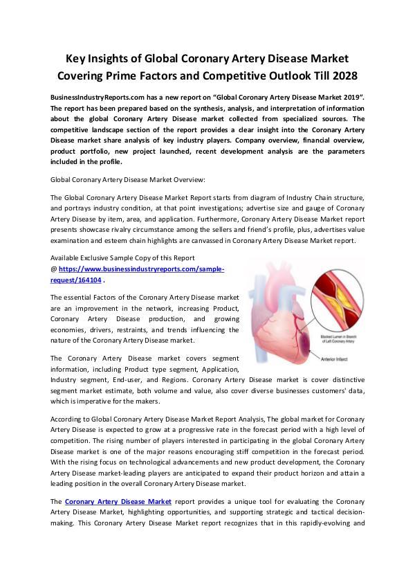 Coronary Artery Disease Market 2019