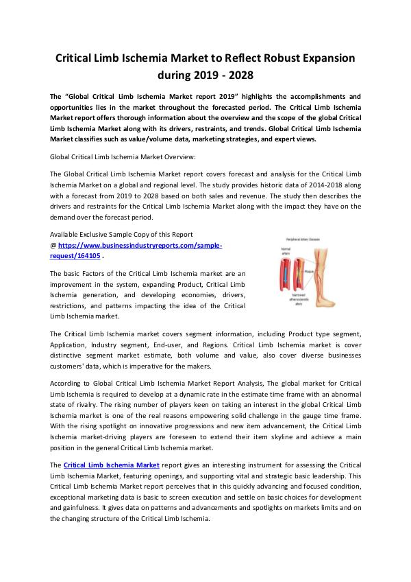 Critical Limb Ischemia Market 2019