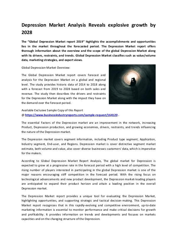 Market Research Reports Depression Market 2019
