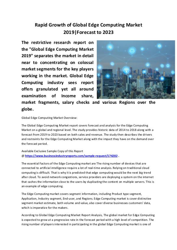 Market Research Reports Edge Computing Market 2019