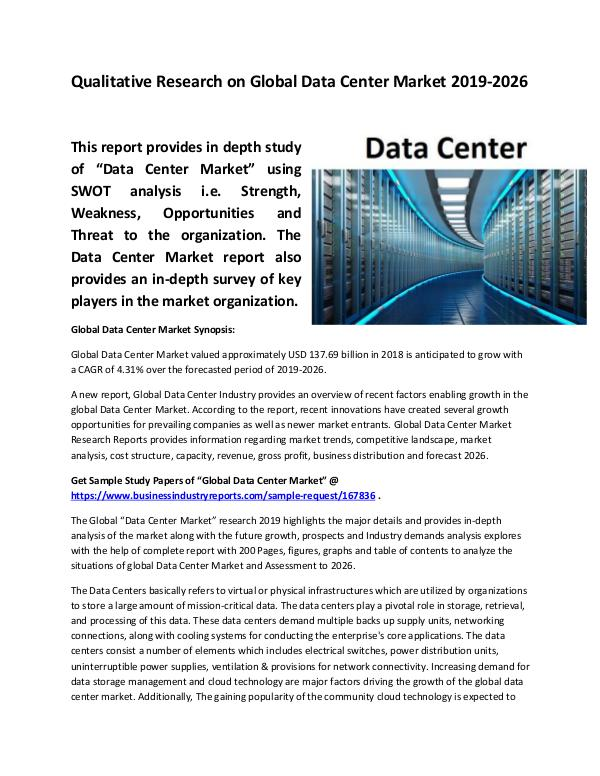 Market Research Reports Global Data Center Market Size study