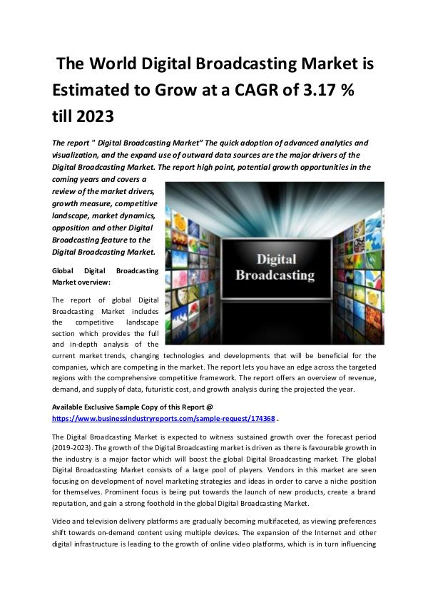 Market Research Reports Global Digital Broadcasting Market 2018-2023.docx