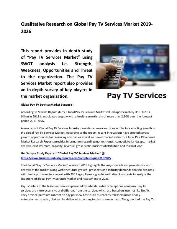 Global Pay TV Services Market Size study