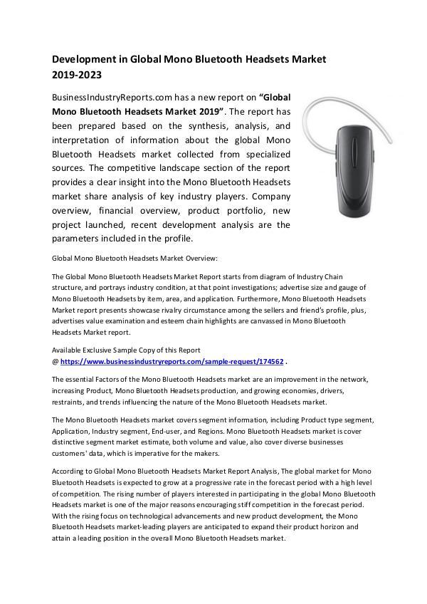 Mono Bluetooth Headsets Market 2019
