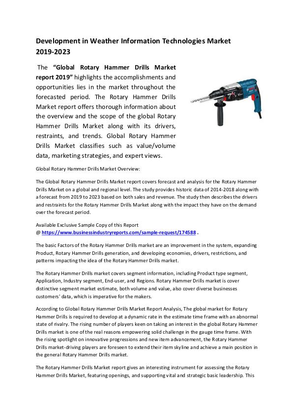Market Research Reports Rotary Hammer Drills Market 2019