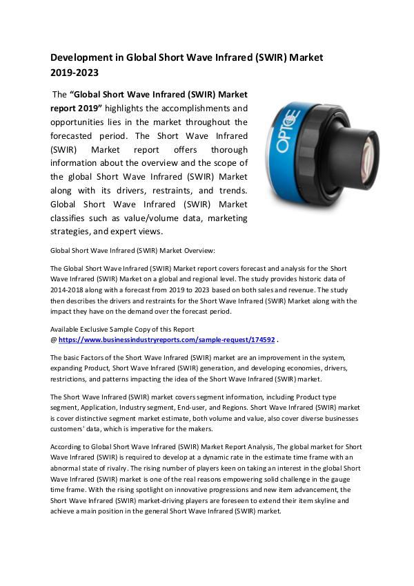 Short Wave Infrared (SWIR) Market 2019