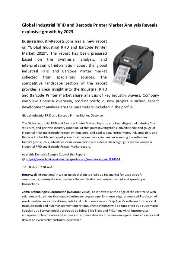 Market Research Reports Industrial RFID and Barcode Printer Market 2019
