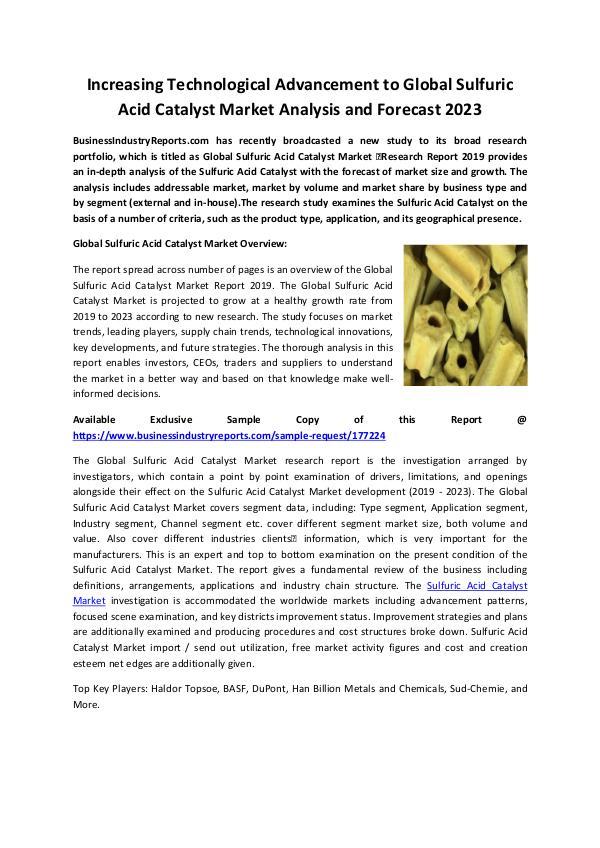 Sulfuric Acid Catalyst Market 2019