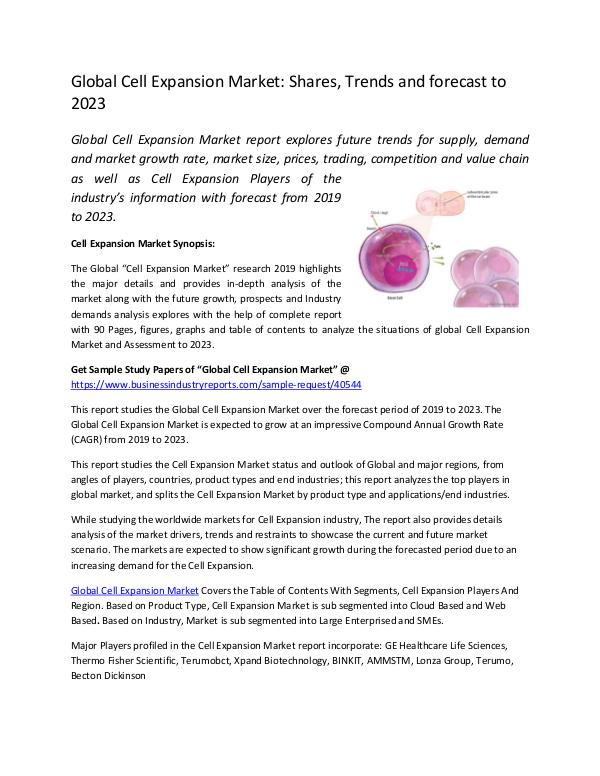 Market Research Reports Global Cell Expansion Market
