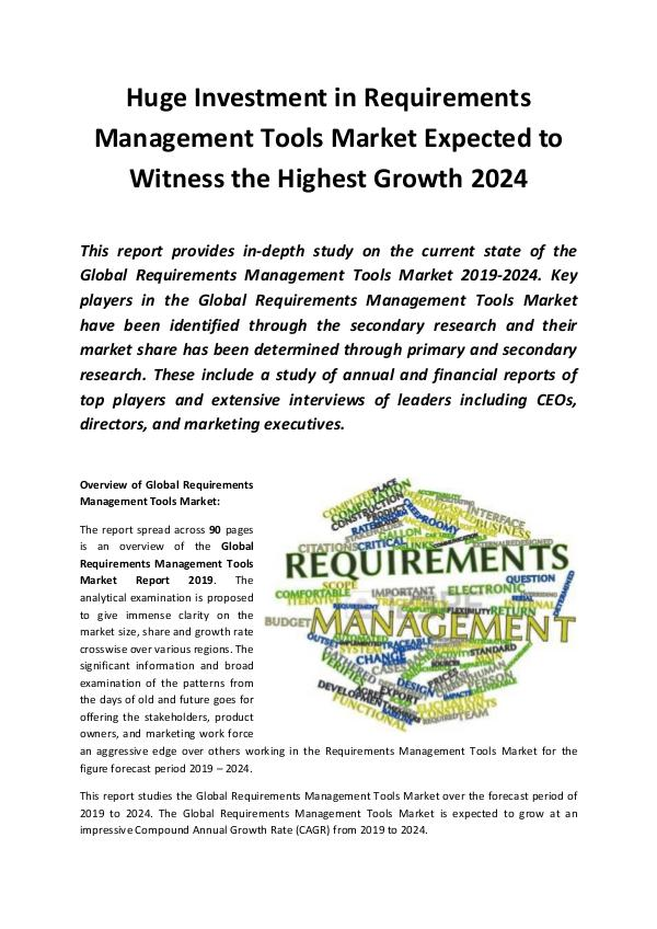Market Research Reports Global Requirements Management Tools Market Report