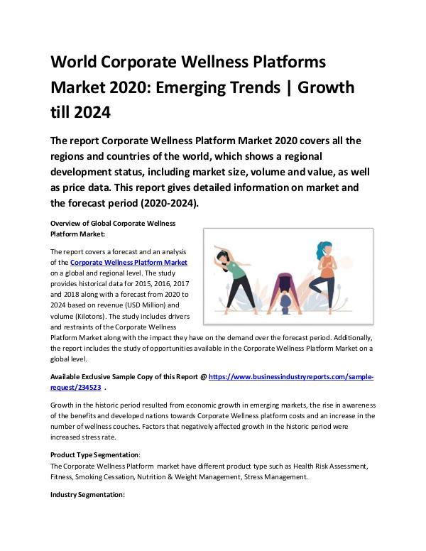 Market Research Reports Global Corporate Wellness Platforms Market 2020-20