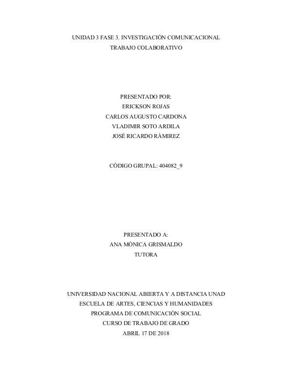 UNIDAD 3 FASE 3. INVESTIGACIÓN COMUNICACIONAL TRABAJO COLABORATIVO Unidad3_Fase3_Grupo404082_9