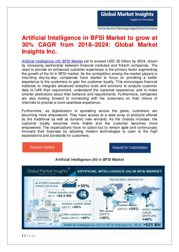 Artificial Intelligence in BFSI Market to reach $25 bn by 2024 Artificial Intelligence (AI) in BFSI Market