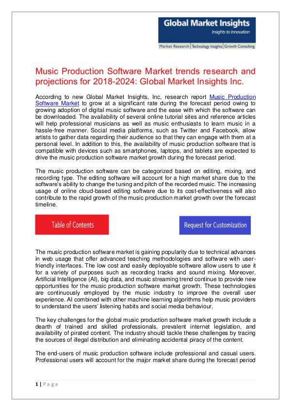 Music Production Software Industry report for 2018-2024 Music Production Software Market