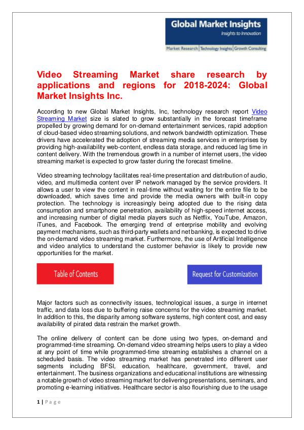Video Streaming Market trends research and projections for 2018-2024 Video Streaming Market