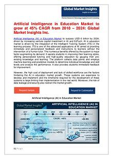 AI in Education Market to grow at 45% CAGR from 2018 – 2024