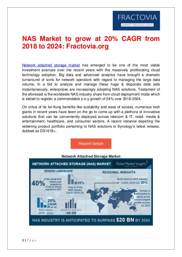 NAS Market to grow at 20% CAGR from 2018 to 2024 Network Attached Storage Market