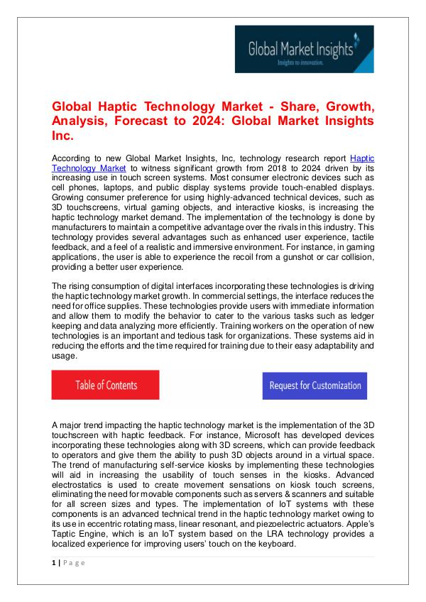 Haptic Technology Market - Share, Growth, Analysis, Forecast to 2024 Haptic Technology Market